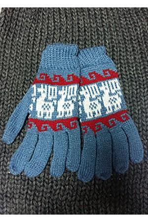 Перчатки из ламы голубые