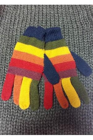 Перчатки из шерсти ламы в полоску